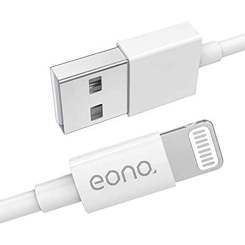 Amazon Brand – Eono Cable Lightning Cable Cargador de iPhone - [Certificado MFi de Apple] 3.3ft/1m Líder de iPhone Cable de Carga Rápida para iPhone 11 Pro XS MAX XR 8 7 6s 6 SE 5, iPad, iPod-Blanco