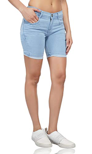 LUXSIS Women's Denim Lycra Skinny Casual Mid Waist Solid Stretchable Nikker Shorts Jeans Pants (Light Blue, Size 28)