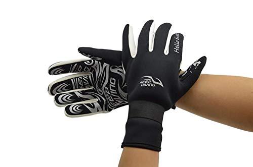 BOLAWOO-77 Tauchen Handschuhe Druck Stoff Manuelle Rutschfeste Tauchen Komfortable Surfen Mode Marken Wassersport Schnorcheln Handschuhe 2Mm (Color : Schwarz, Size : M)