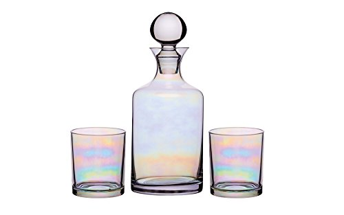 BarCraft Glazen Gin/Whisky Decanter en Tumbler Gift Set (3 stuks) - Rainbow-Pearl Iridescent Finish