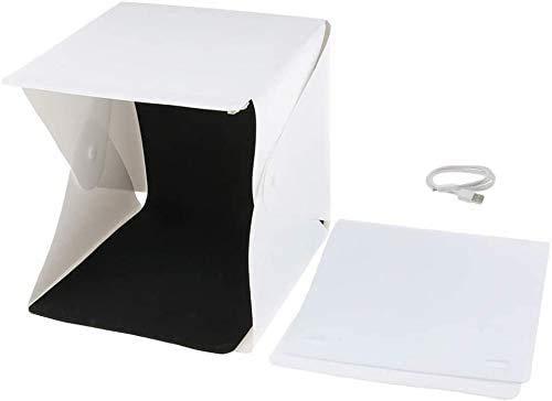Adjustable Light Photo Studio Box, Portable photography light box 24x23x23cm, Photo studio tent kit with with 2 Backgrounds (White/Black)