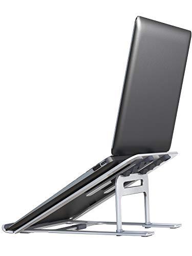 LORYERGO Laptop Ständer, Laptop Halterung mit Superstabiles Aluminium, 5-Stufig Höhenverstellbarer Notebook MacBook Stand, 10-15,6 Zoll Faltbar, Erhöhung für den Schreibtisch, Homeoffice,Tablet
