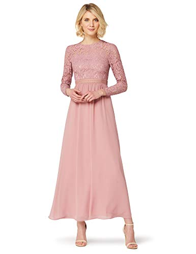 Amazon-Marke: TRUTH & FABLE Damen Maxi A-Linien-Kleid aus Spitze, Rosa (Nostalgie Rose), 32, Label:XXS
