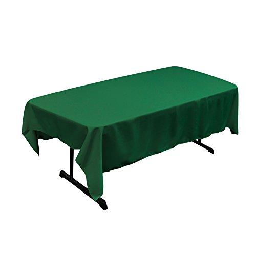 LA Linen Polyester Poplin Rectangular Tablecloth, Emerald Green, 60' x 84'
