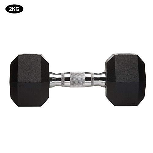 Fitnesshalter, fitnessstudio, studio, omgekeerde zeshoekige halters, gietijzer, gecoate halter 2 kg `
