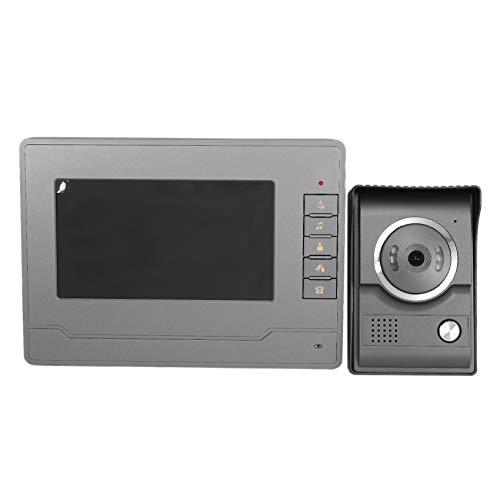 Beada Sistema de intercomunicacion Video, Sistema de Timbre de Video con Timbre vigilancia de 7 Pulgadas, Timbre de Video con Cable Kit de Camara HD Que Permite desbloqueo,(Enchufe de la UE)