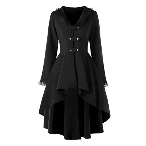 TEBAISE Smokingjacken Damen Steampunk Gothic Lange Coat Cosplay Kostüm Smoking Uniform Vintage Retro Windbreaker 2019 Winter Elegant Gothic Mäntel GroßE GrößEn Trenchcoat mit Asymmetrisch Saum S-5XL