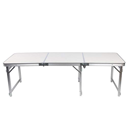 Keenso Camping Klapptisch, 180 * 60CM Erweiterter multifunktionaler Haushaltsklapptisch 6 Fuß Tragbarer Klapptisch aus Aluminiumlegierung im Freien Langer Tisch mit gerader Seite