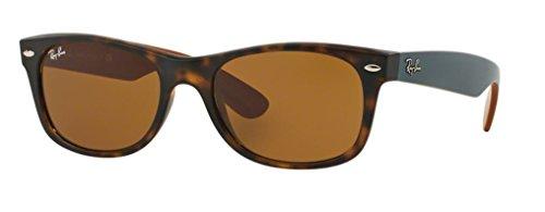 Ray-Ban RB2132 New Wayfarer Sunglasses Unisex 100% Authentic (Tortoise Frame Solid Brown Lens, 55)