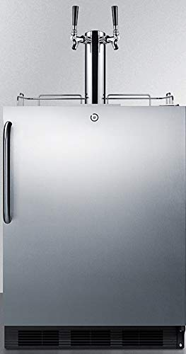 Summit Appliance SBC54OSBIADAWKDTWIN Built-in Undercounter ADA Compliant Commercially Listed Dual Tap Wine Kegerator in Stainless Steel Exterior for Outdoor Use, Auto Defrost, Lock