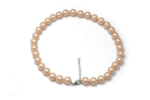 Schmuckwilli Damen Muschelkernperlen Perlenkette aus echter Muschel rosa 45cm 12mm mk12mm084-45