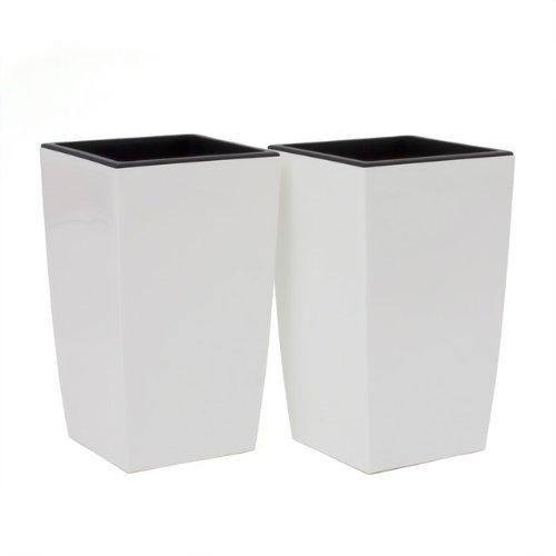 Prosperplast 2X Pot de Fleur Coubi 30L Fond survéelé Largeur 290 mm carré décoration Blanc