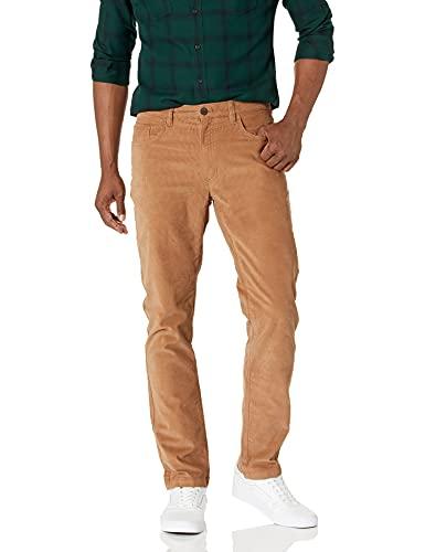 Marque Amazon – Goodthreads Pantalon en velours côtelé extensible et confortable avec coupe ajustée et 5poches pour homme, Beige (Khaki Kha), 32W x 32L
