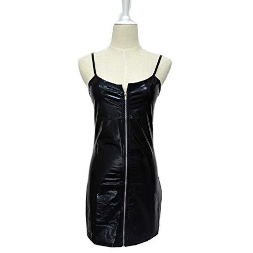 Strapsen Lederkleid Simili Mini Reißverschluss Vorne Ausschnitt Stretch Fit Damen Sexy Kleid Rock Bodycon Wetlook Korsett Kleid Aus Lack Leder mit Reißverschluss Minirock Party Club Kostüm