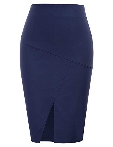 Kate Kasin Women's Knee Length Navy Back Zipper Pencil Skirts
