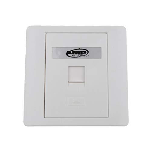 B Blesiya Wall Plate and Keystone, Rj45/RJ11 Jack Network Ethernet Connector, Female to Female F/F, White (1 Port)