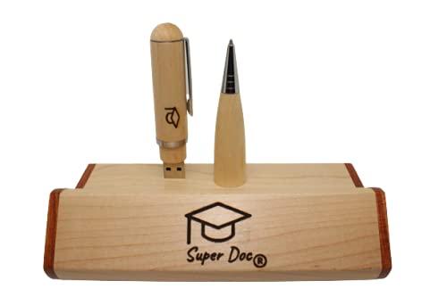 Penna di legno Artigianale 32GB USB incisa con Bruciatura- Idea Regalo per :Laurea (inserisci foto/video del percorso accademico)