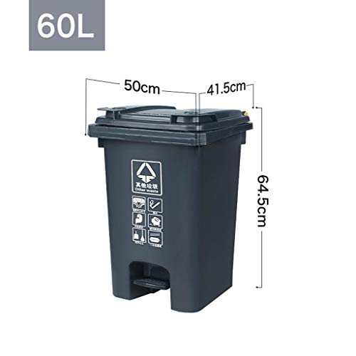 Best Review Of LXF Outdoor Waste Bins Outdoor Trash can Pedal Type Sanitation Storage bin 70L Black ...