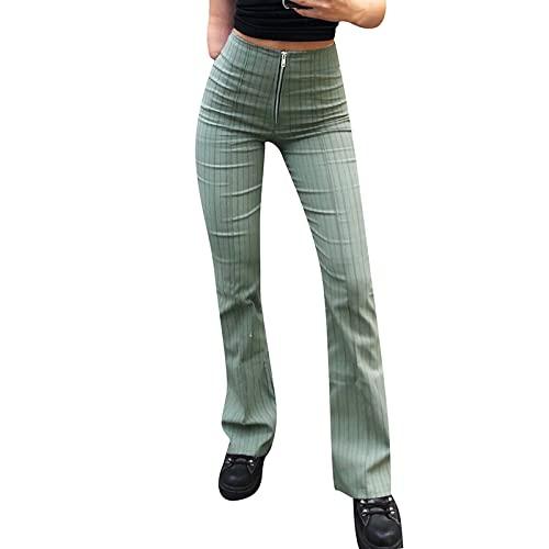 SKZZVI Pantalones de bateo para mujer, estilo informal, a rayas, cierre de cremallera, cintura media, pantalones largos, Verde militar., XL