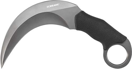 Schrade SCH112 8.4in High Carbon S.S. Full Tang Fixed Blade Knife with 5.2in Hawkbill Dual Edge Blade and TPE Handle for Outdoor Survival, Tactical and EDC