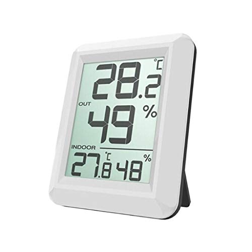 Surveillance météo Horloges Station météo numérique Thermomètre intérieur/extérieur sans Fil Humidité Affichage LCD Date Heure Alarme Horloges (Color : White, Taille : 2.91 * 2.24inchs)