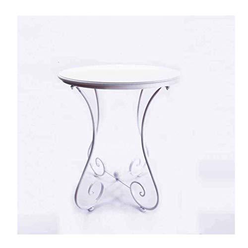 ZHFZD kleine tafel, rond, eenvoudig, van massief hout, grootte bijzettafel, Amerikaanse sofa, kleur optioneel (kleur: wit, maat: 60 cm) 60CM Wit