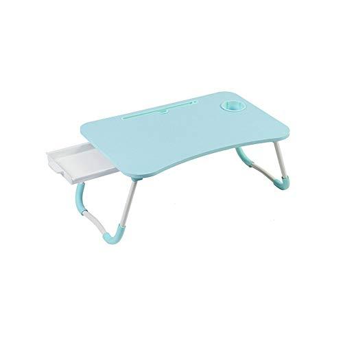 Laptop Bed Table, Grote Inklapbare Portable Lap Permanent Bureau met de Kop van Slot en lade, Notebook Stand Breakfast Bed Tray Book houder for de bank, bed, terras, balkon, tuin (Color : Blue)