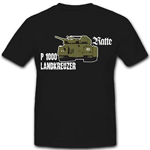 Ratte P1000 Landkreuzer WH Konzept Prototyp Überschwerer Kampfpanzer WK Landschlachtschiff Albert Speer - T Shirt #2373, Größe:L, Farbe:Schwarz