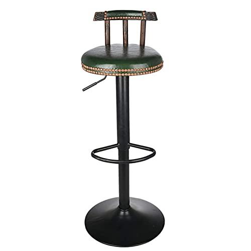 Gymqian Silla de Taburete de Ar 60-80 cm Altura Ajustable de Madera Retro Asiento de Cuero Redondo Industrial Retro Barra de Taburete Silla de Cuero para Asiento de Contador de Café