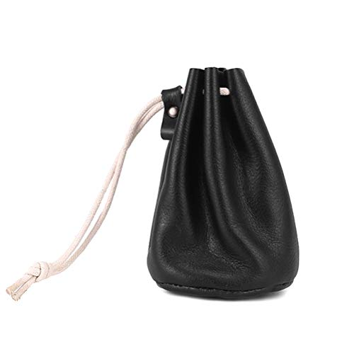 Drawstring Pouch Leather Drawstring Pouch Change Coins Purse for Small Items Bank Card Light Black