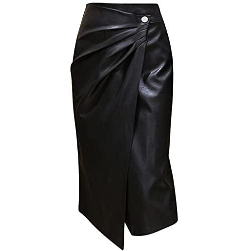 DIAOD Otoño/invierno Moda Oficina Falda de cuero Falda lápiz de cuero de cintura alta para mujer (Color : Black, Size : L code)
