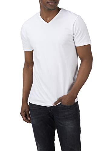 Charles Wilson Herren 4er Packung Elastan T-Shirts mit V-Ausschnitt (Medium, White Type 62)