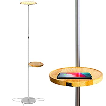 Brightech Sky Ultra LED Floor Lamp- Wireless Charging and Table Top Shelf- Tall Standing Torchiere Lamp with Bright Light- Perfect for Living Room Bedrooms Office Den- Platinum Silver