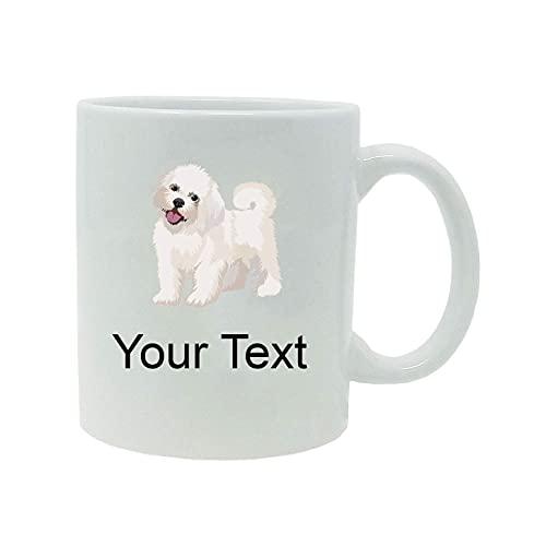 N\A Cachorro maltés/Cachorro Bichón Habanero Personalizado Personalizado - Taza de café Blanca de sublimación de cerámica Blanca de 11 onzas con Caja de Regalo