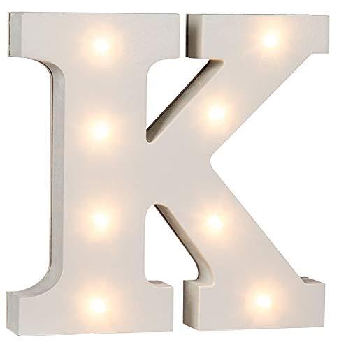 LED Buchstaben Alphabet Beleuchtet Buchstaben A bis Z und & Zeichen wählbar Holz weiß lackiert Batteriebetrieben (LED Buchstabe K)