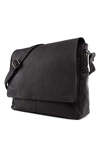 LEABAGS großer Messenger Bag/Umhängetasche/Schultertasche/Unitasche/Collegetasche aus echtem Büffelleder - Unisex - Vintage - ideal für Studium