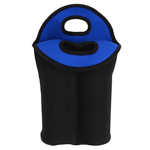 ABOOFAN Funda para botella de vino tinto Bolsa de regalo a prueba de golpes para botella de vino protector de botella de vino para el hogar Hotel (dos ranuras, negro y azul oscuro)