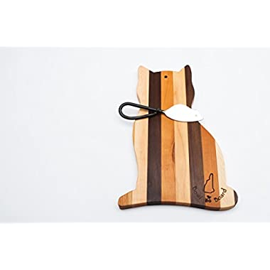 Wood Cat Cheese and Cutting Board