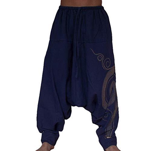 Taigood Hombre Pantalones Harem Cómoda Cintura Elástica Pantalones Moda Color Sólido Casuales Yoga Hippies Pantalones Armada Tamaño M