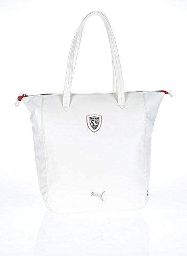 Puma Ferrari negro LS shopper-Bolso de mano, talla única, color blanco Ferrari LS Shopper Whisper white-rosso corsa