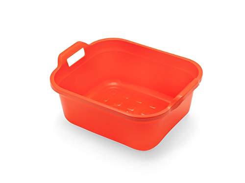 Addis Large Rectangular 10 litre Washing up bowl with handles, Flame Orange, 39 x 32 x 14 cm