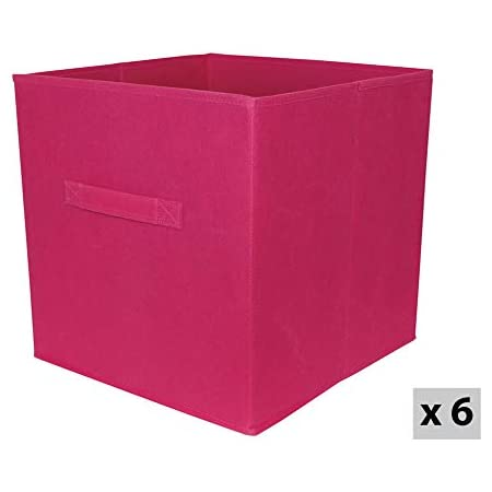 Box and Beyond Lot de 6 paniers intissés Pliables - avec poignées - Polypropylène - Rose - 31x31x31cm