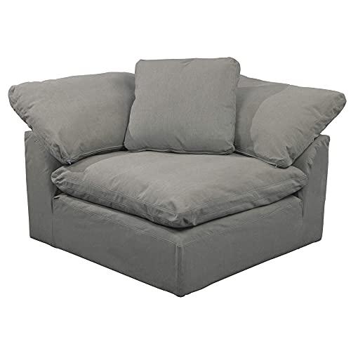 Sunset Trading Cloud PuffSlipcovered Arm Modular Corner, Performance Gray Sofa Sectional Chair, Grey