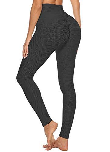 STARBILD Leggings Mallas Deportivo para Mujer Pantalones Largo de Cintura Alta Control el Abdomen Levantamiento de Cadera para Yoga Workout Fitness A-Negro S