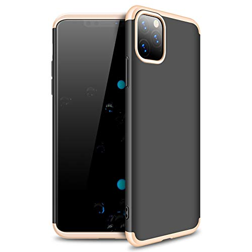 JXTech iPhone 11 Pro Max Case, Matte-Finish Hard PC 3 in 1 Slim Fit Anti-Fingerprint Scratch Resistant Protective Cover for iPhone 11 Pro Max Black-Gold