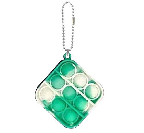 Pop Bubble Sensory Fidget Toy, Stress Reliever Squeeze Sensory Pop Toy Keychain With Hanging Hole (Colorful, Square)