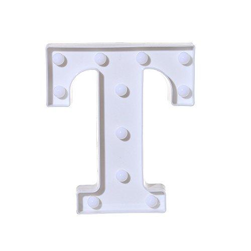 SODAl Letras de plástico blanco con luces LED del alfabeto para boda, fiesta de cumpleaños, funciona con pilas, lámpara de Navidad, luz nocturna, decoración de barra para colgar de pie (T)