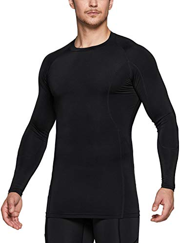 Tesla Sportswear, Sports Inner, Long Sleeve, Sports Shirt, UV Protection, Sweat Absorbent, Quick Drying, Compression Wear, Training, Running, Sports Shirt - sports Athletic (MUD31) - Black
