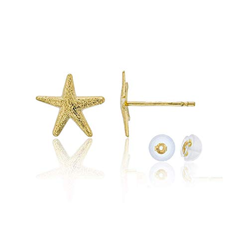 14k Yellow Gold Textured 8mm Starfish Stud Earrings