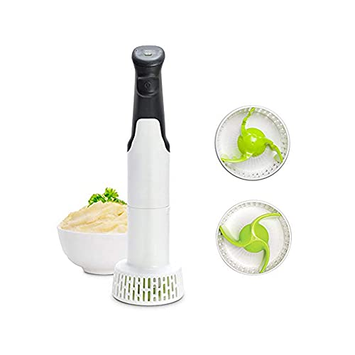 Black and White Electric Potato Masher with a Bowl of Mashed Potato